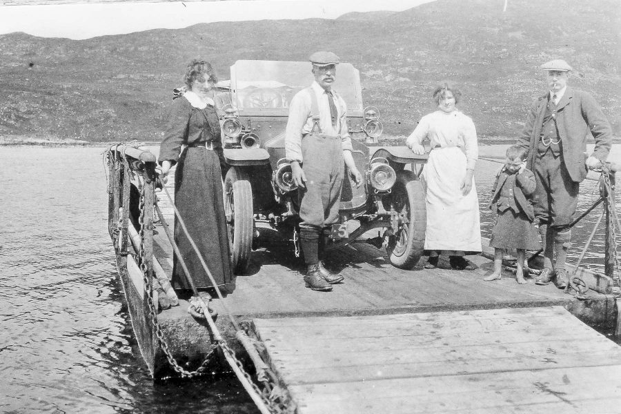 Kylesku Ferry, early car ferry Scotland. Early 20th century.
