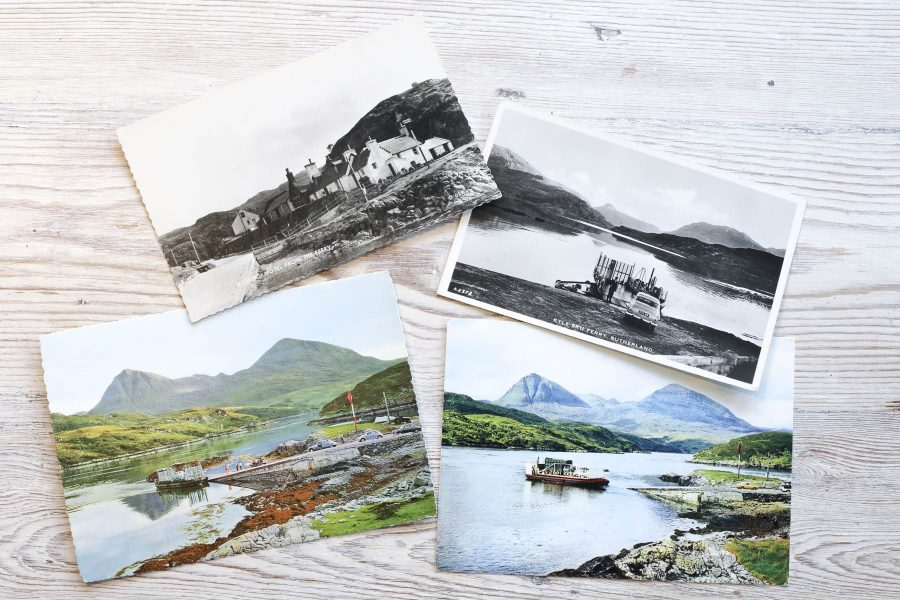 Vintage postcrads of Kylesku Hotel and Ferry.