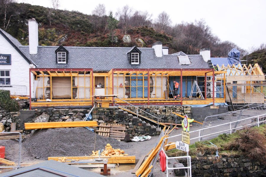 Renovations and extension at Kylesku Hotel, Sutherland.