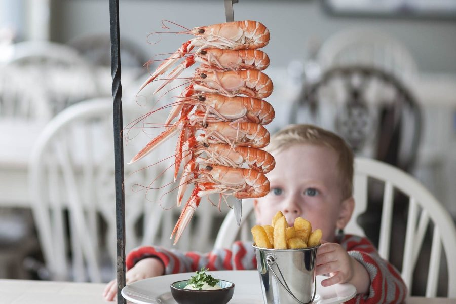 Langoustine tower at Kylesku Hotel restaurant