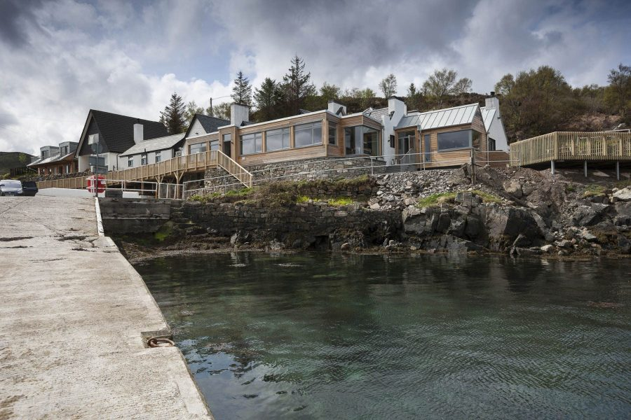 Waterside hotel - Kylesku Hotel, Scotland, from the slipway
