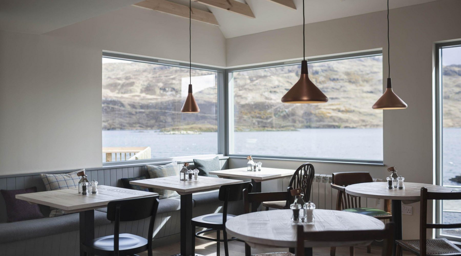 Kylesku Hotel Bar with sea view of Loch Gleann Dubh
