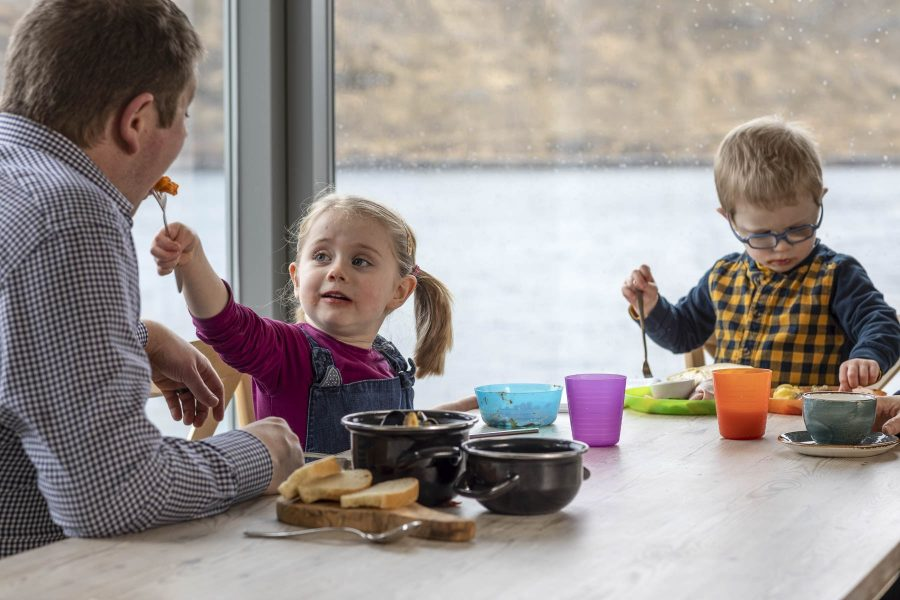 Family dining at Kylesku Hotel