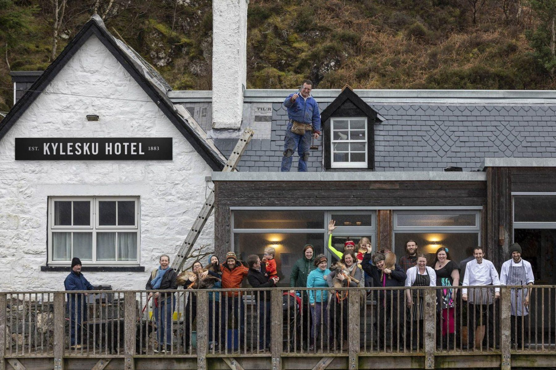 Staff outside Kylesku Hotel, Sutherland