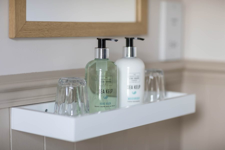 Room 5, detail of toiletries, Kylesku Hotel, Sutherland